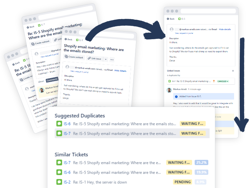 Duplicate AI for JIRA takes care of duplicate tickets in your queues and backlogs. It finds duplicates and merges them.